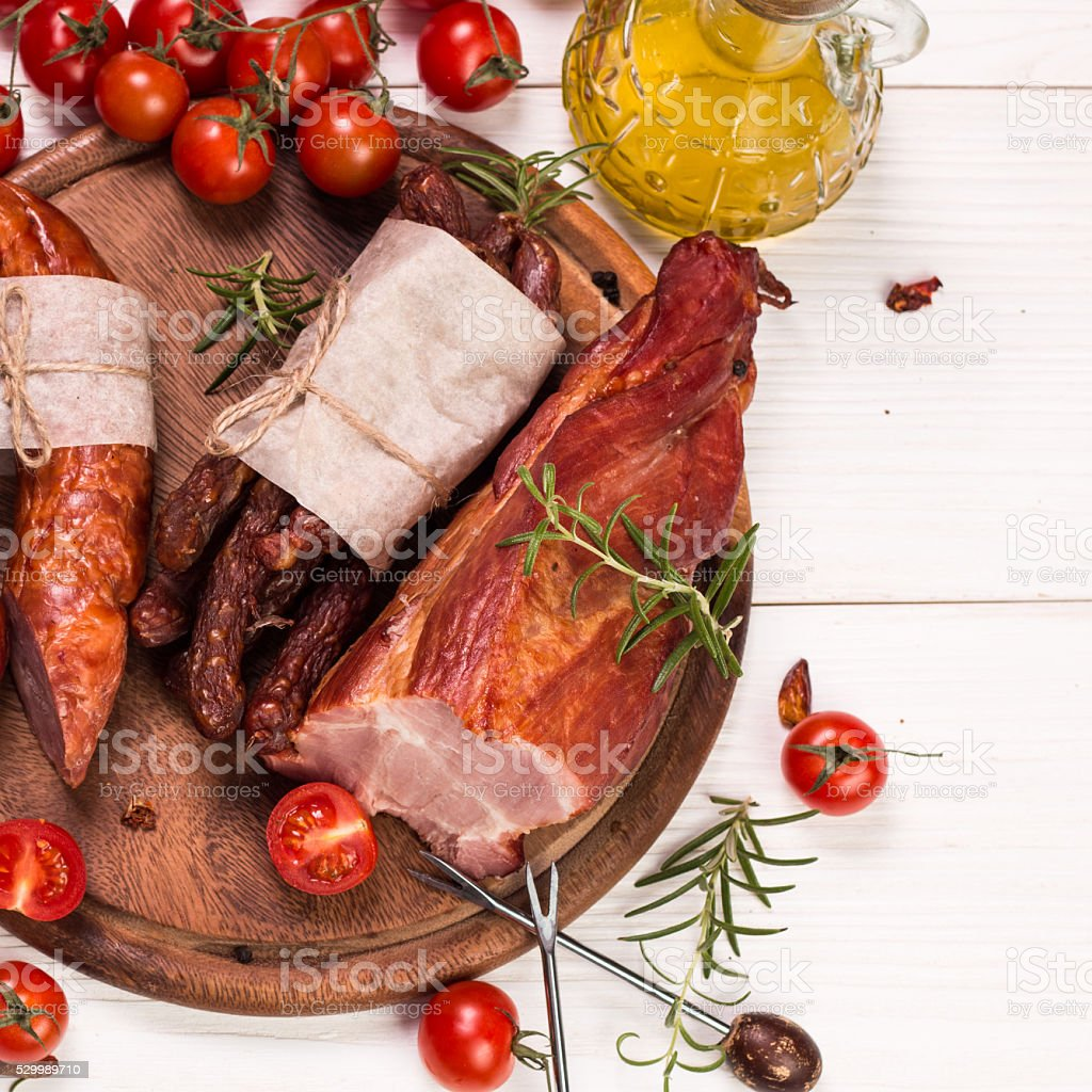 Antipasto catering platter with salami and meat stock photo