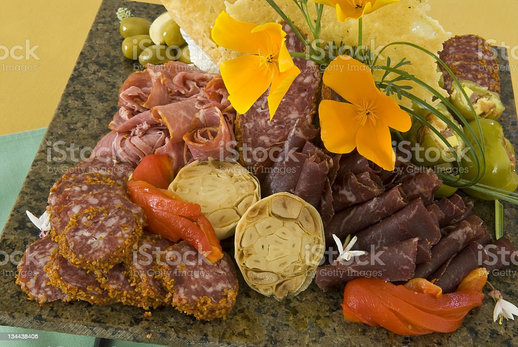 Antipasto Gourmet Meat and Cheese Tray stock photo