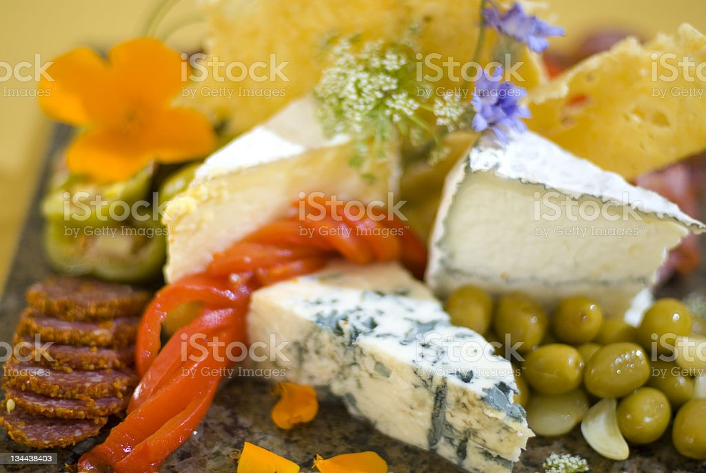 Antipasto Gourmet Meat and Fruit Tray - Selective Focus stock photo