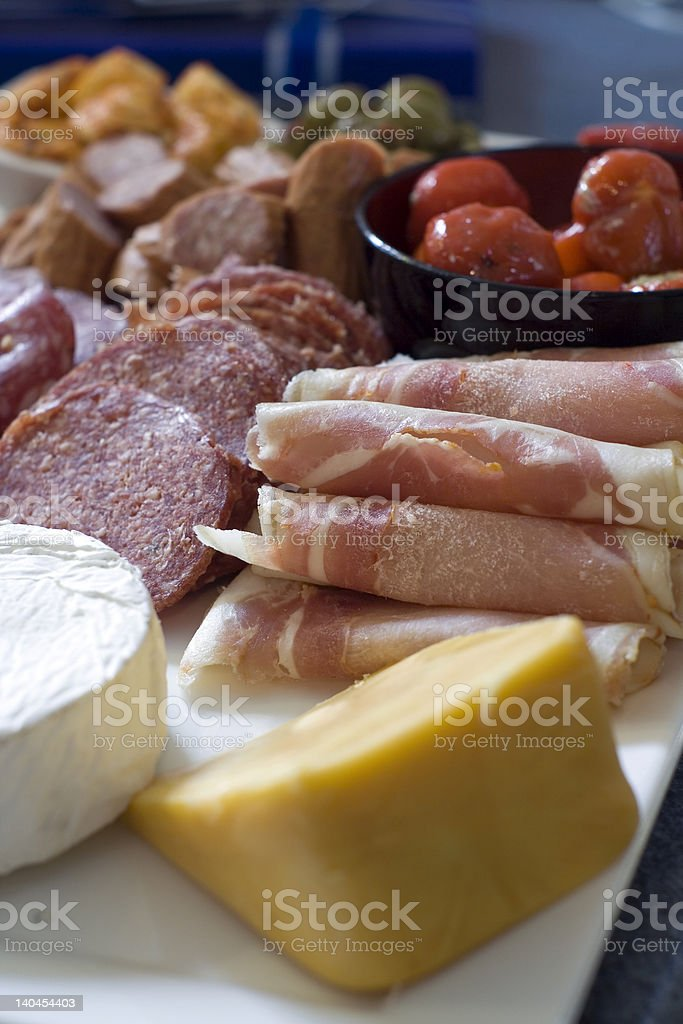 Antipasto; meat and cheese platter stock photo
