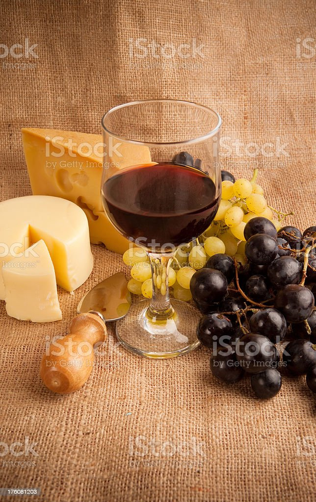 Antipasto mediterranean with red wine royalty-free stock photo