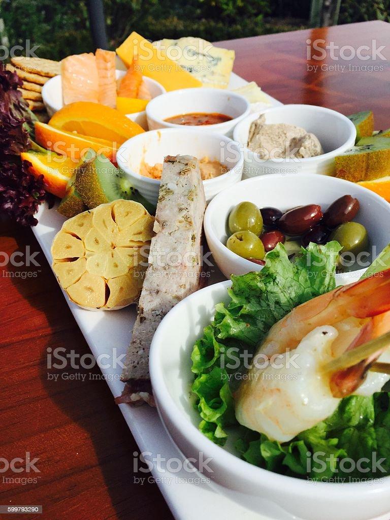 Antipasto Platter at Vineyard Restaurant stock photo