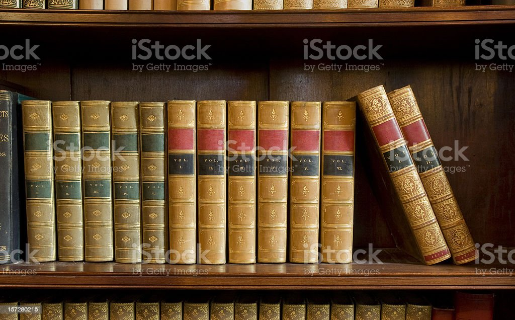 Antiquarian books with blank spines royalty-free stock photo