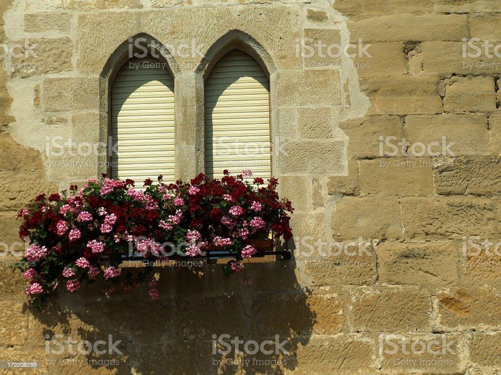 Antiquated, decorated windows stock photo