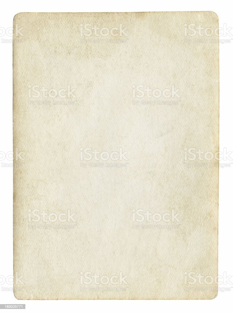 Antiquated sheet of paper with nothing written on it stock photo