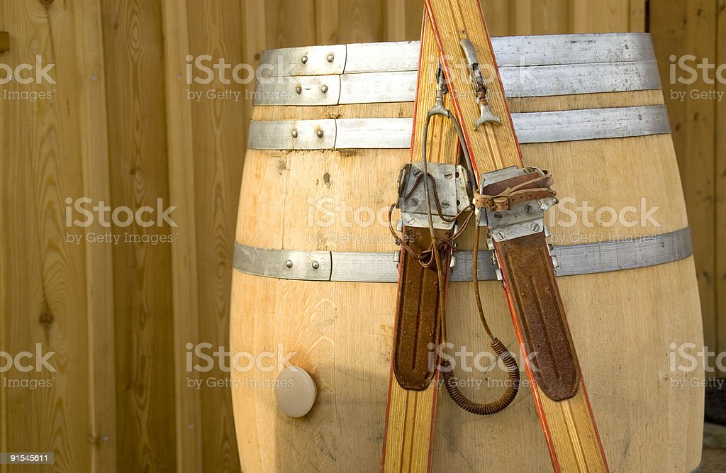 Antiquated skis royalty-free stock photo
