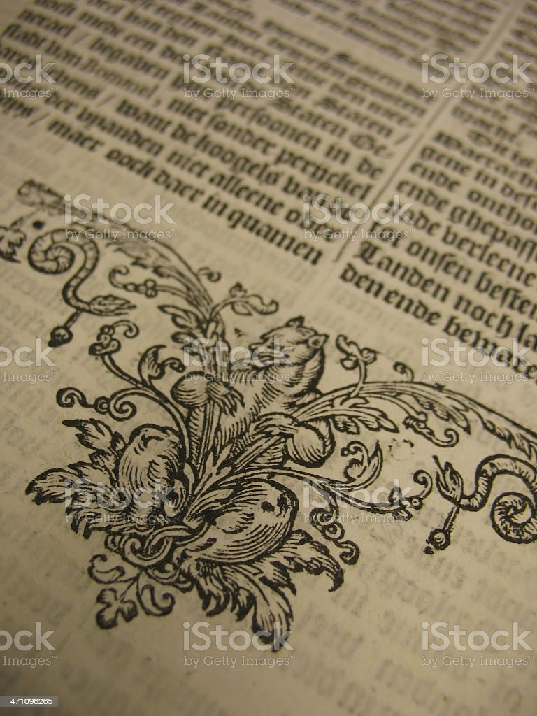 Antique 17th century book page royalty-free stock photo