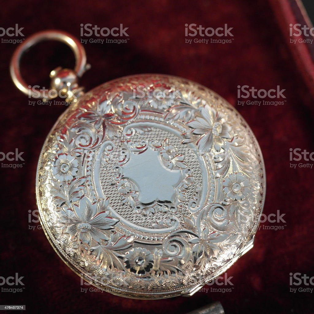 Antique 1870 gold 14 ct pocket watch stock photo