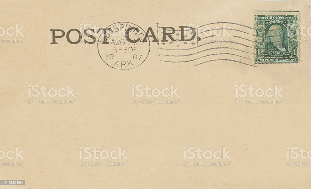 Antique 1907 Hot Springs Arkansas Stamped Post Card Back stock photo