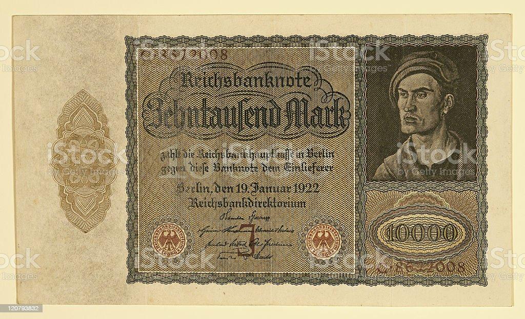 Antique 1922 German Y 10000 Deutsche Mark stock photo