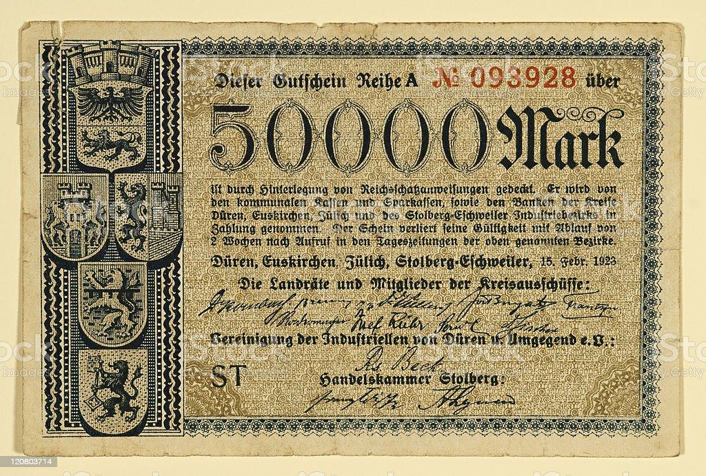 Antique 1923 German 50000 Mark stock photo