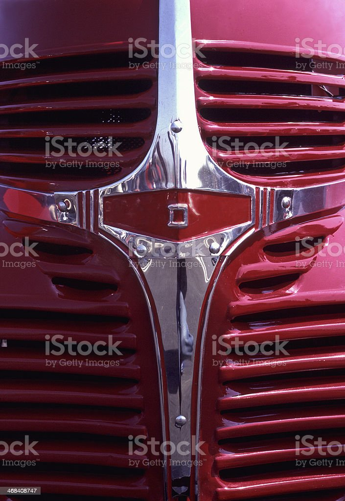 Antique 1946 Red Dodge Pickup - Classic Front End Grille stock photo