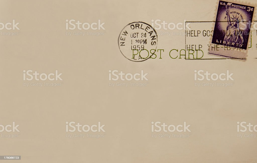 Antique 1959 postcard back New Orleans Postmark stock photo