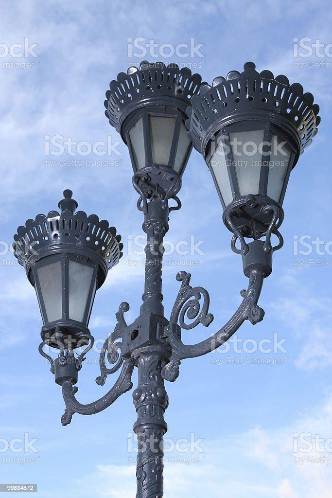 Antique 3 Way Street Lamp royalty-free stock photo