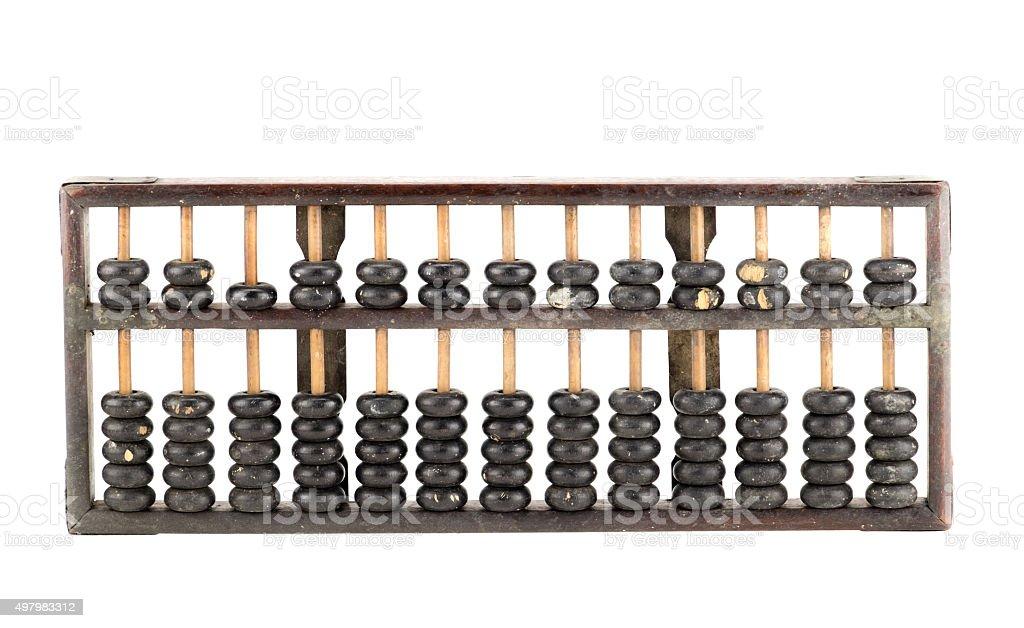 Antique abacus isolated on white background stock photo