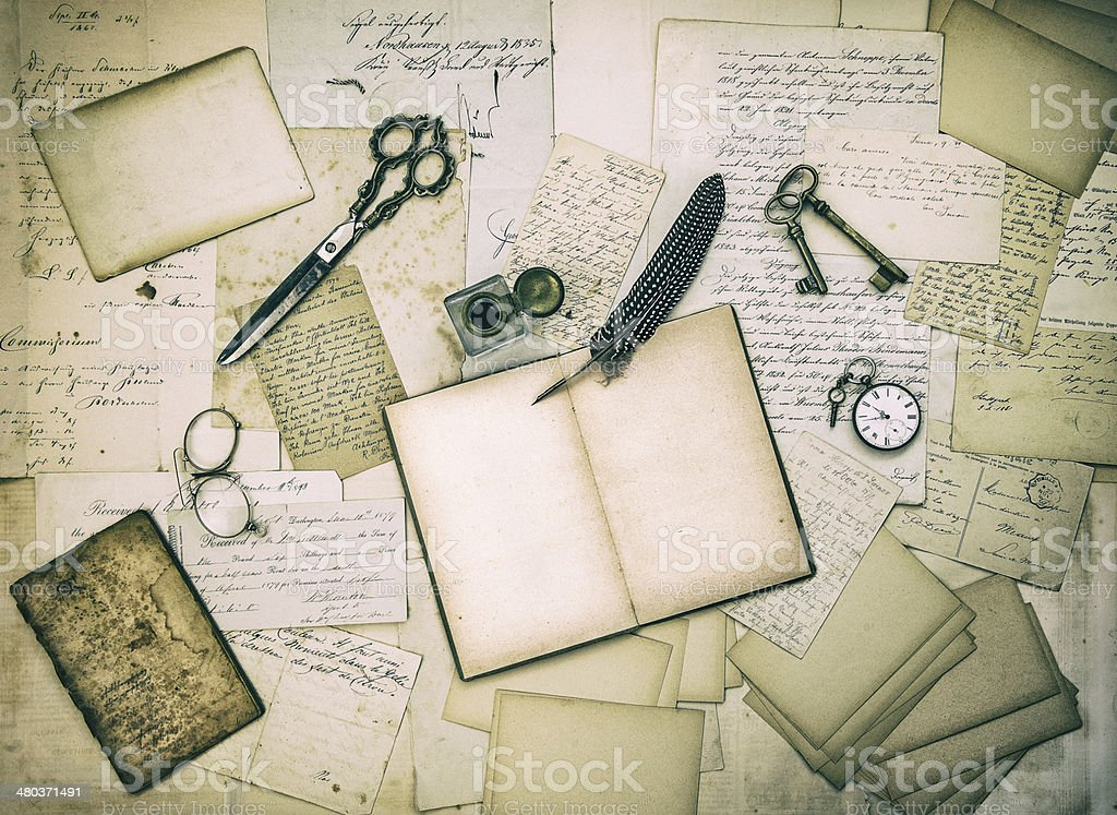 antique accessories, old letters and vintage ink pen royalty-free stock photo