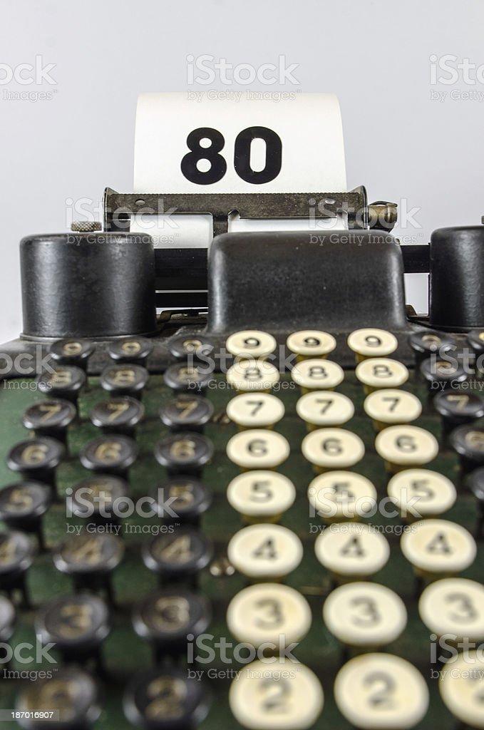 Antique  Adding Machine With Age 80 stock photo