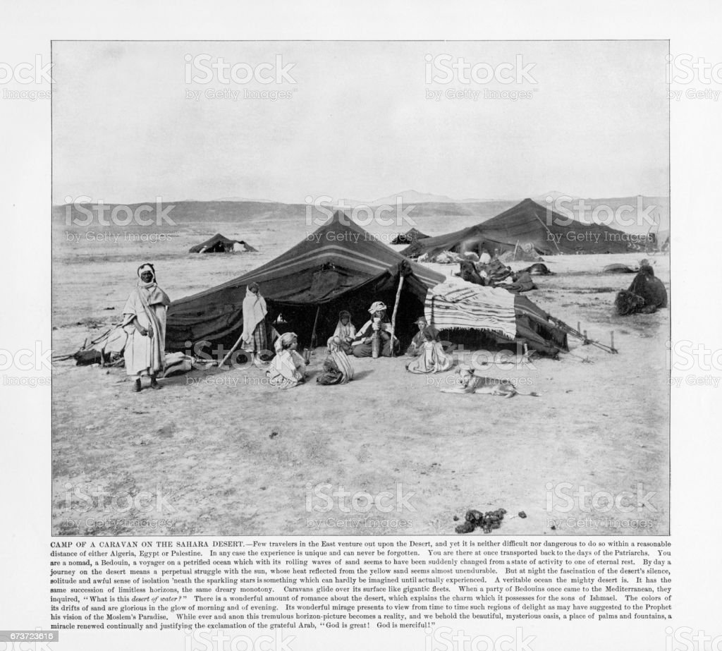 Antique African Photograph: Camp of a Caravan on the Sahara Desert, Africa, 1893 stock photo