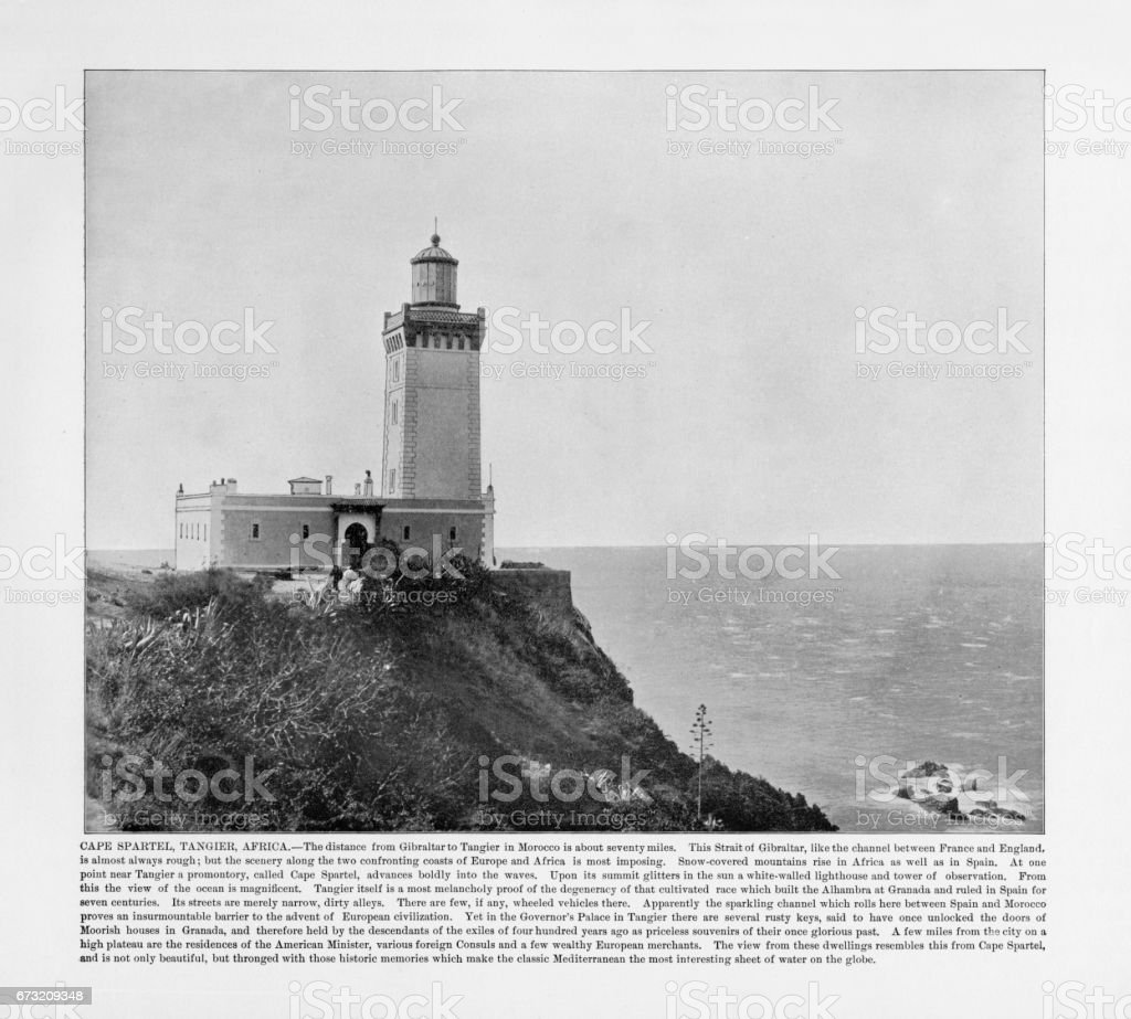 Antique African Photograph: Cape Spartel, Tangier, Africa, 1893 stock photo