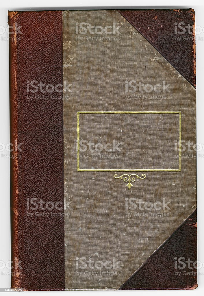 Antique aged leather bound book stock photo