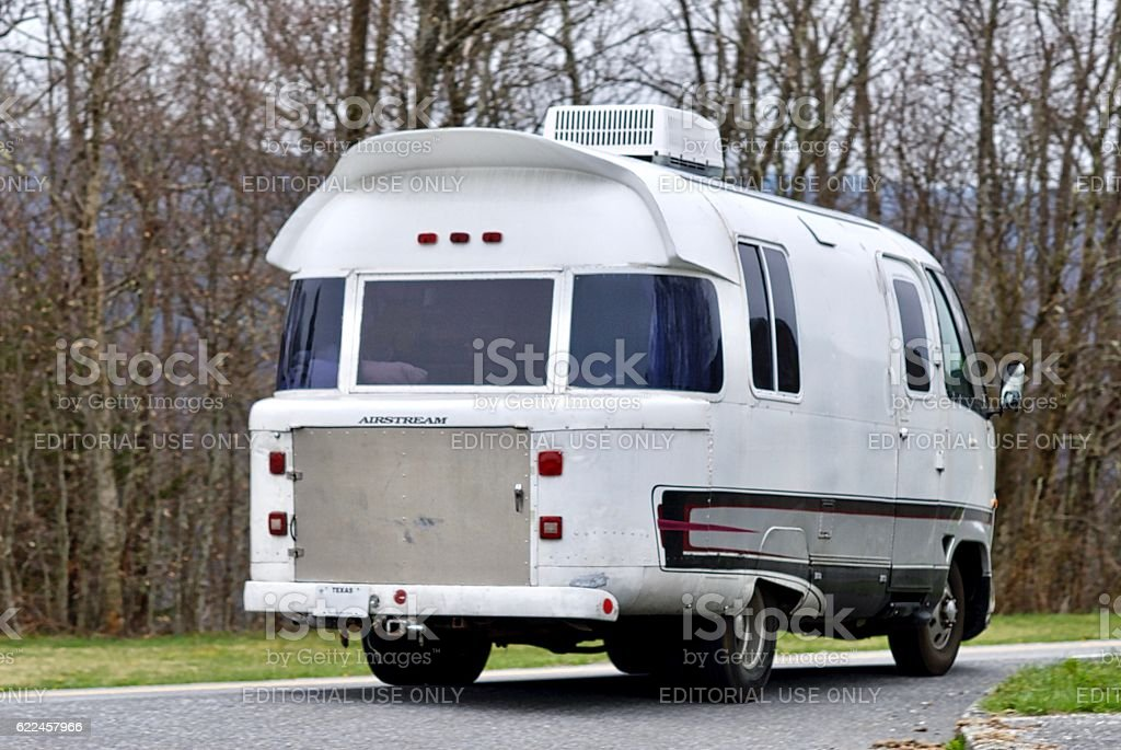 Antique Airstream RV Rearview stock photo