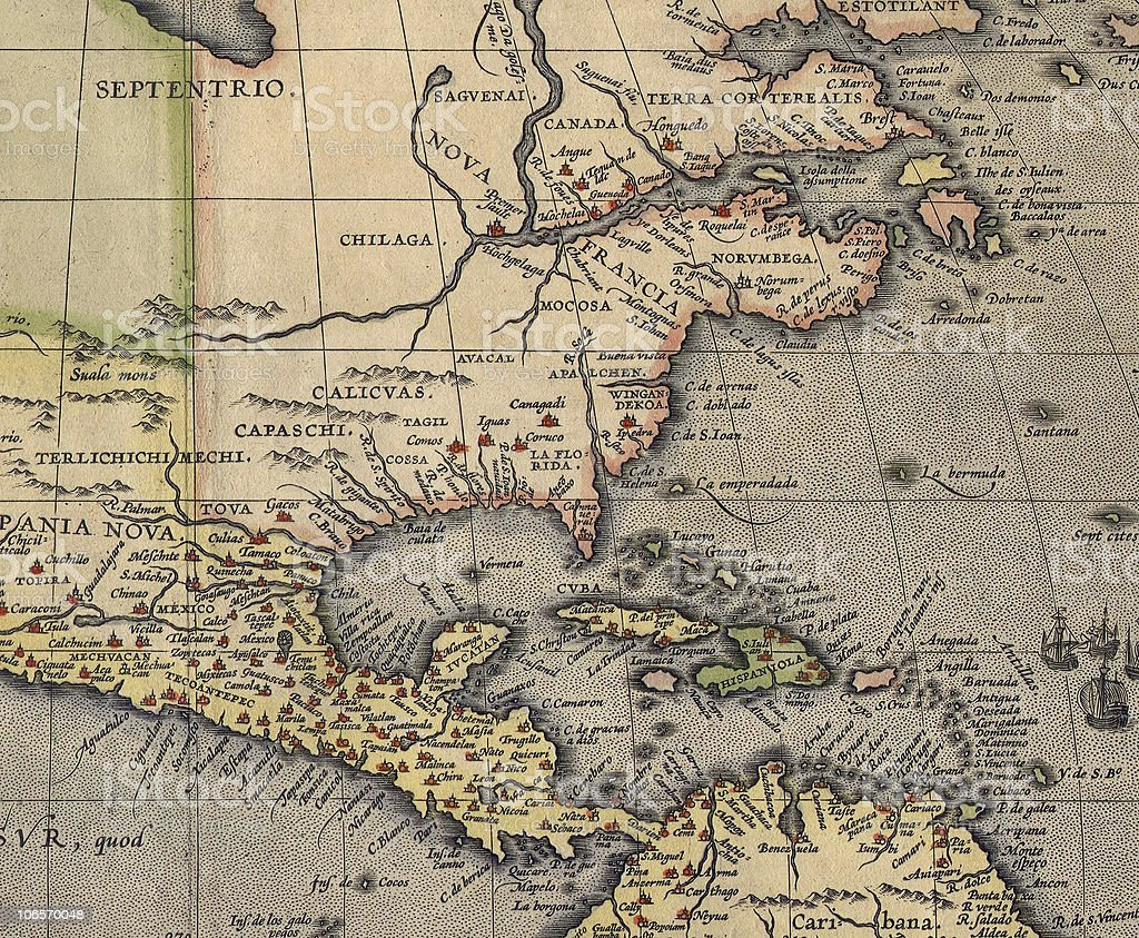 Antique America and Carribean map stock photo
