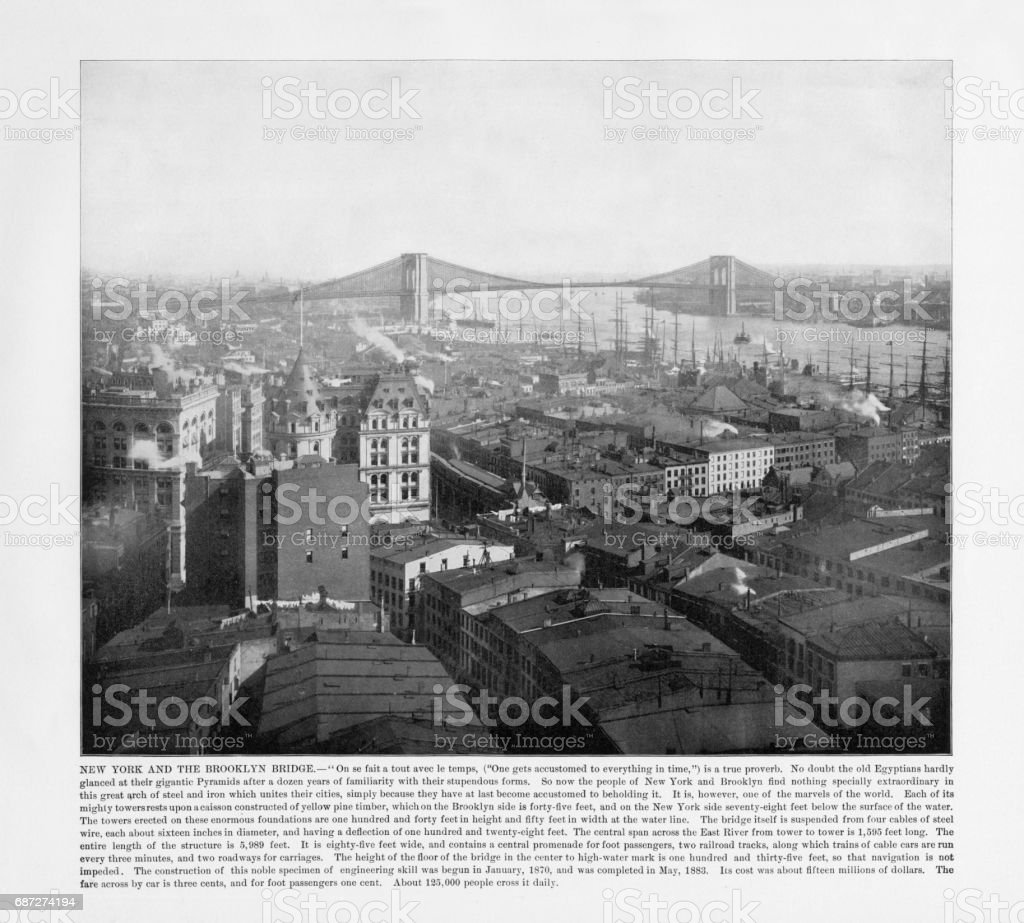 Antique American Photograph: New York and the Brooklyn Bridge, New York City, United States, 1893 stock photo