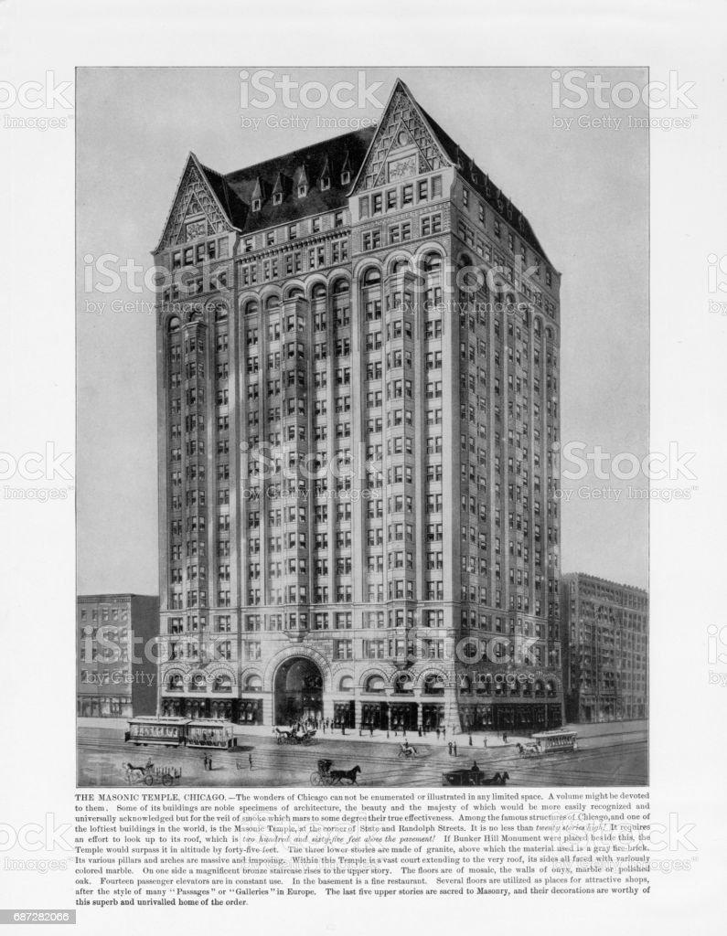 Antique American Photograph: The Masonic Temple, Chicago, Illinois, United States, 1893 stock photo