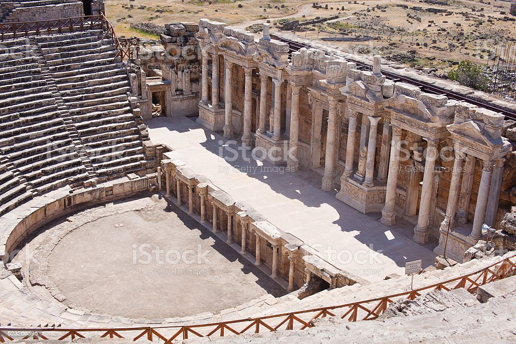 Antique amphitheater in the ancient city of Hierapolis. Pamukkale, Turkey stock photo