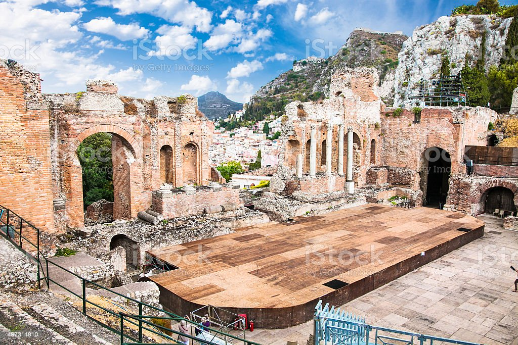 Antique amphitheater Teatro Greco in Taormina, Sicily stock photo