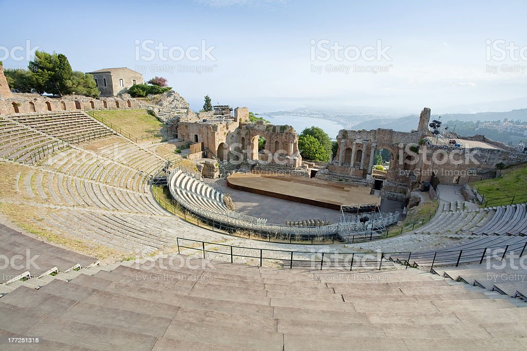 antique amphitheater Teatro Greco, Taormina stock photo