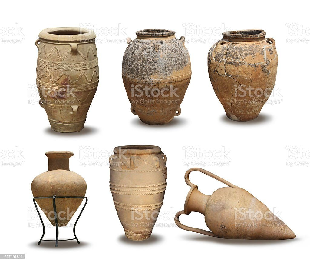 Antique and Minoan vase collection stock photo