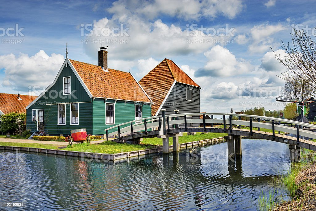 Antique and Traditional Dutch Farm Village Houses stock photo