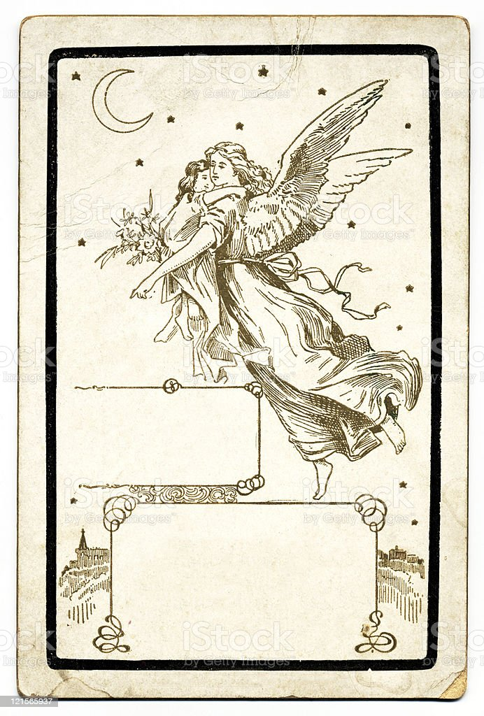 Antique Angel Card royalty-free stock photo