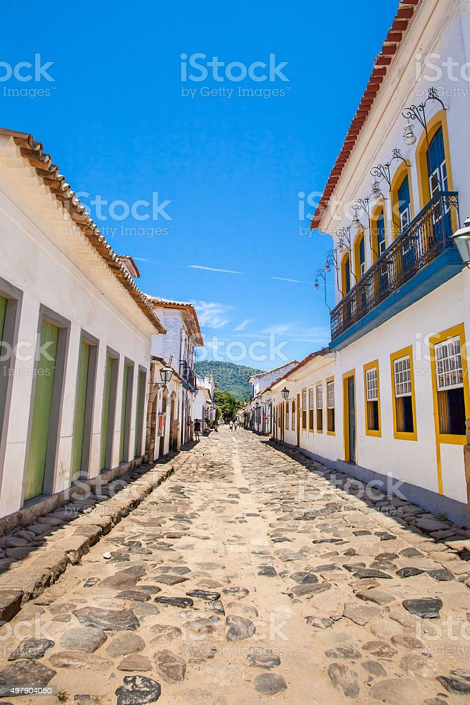 Antique architecture and street of Paraty/ RJ stock photo