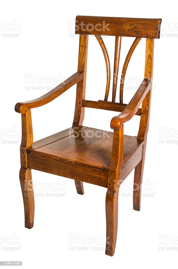 antique armchair made of cherry wood from the biedermeier time stock photo
