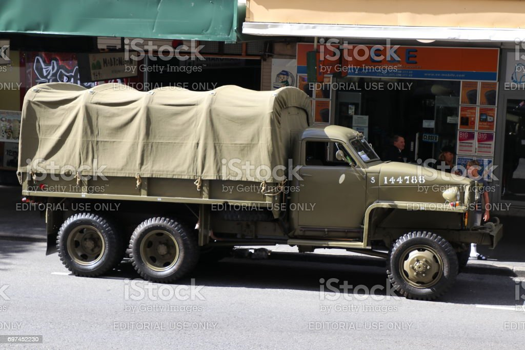 Antique army truck stock photo