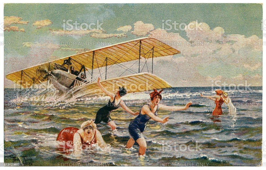 Antique artist signed postcard by Arthur Thiele humour 1910 stock photo
