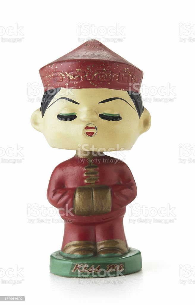 Antique asian kissing dolls man stock photo
