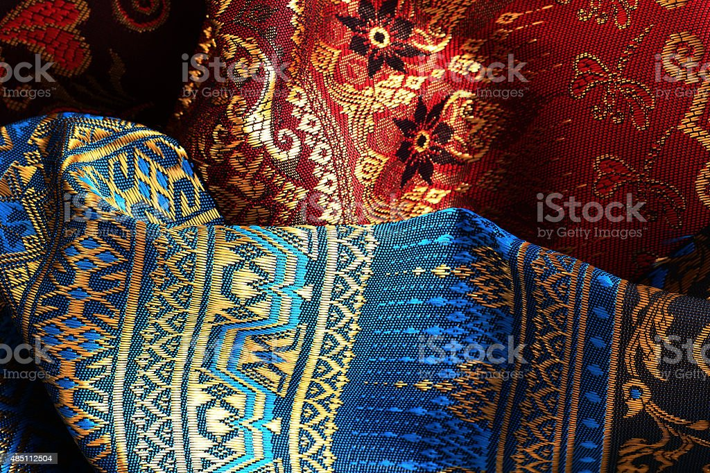 Antique Asian textile stock photo