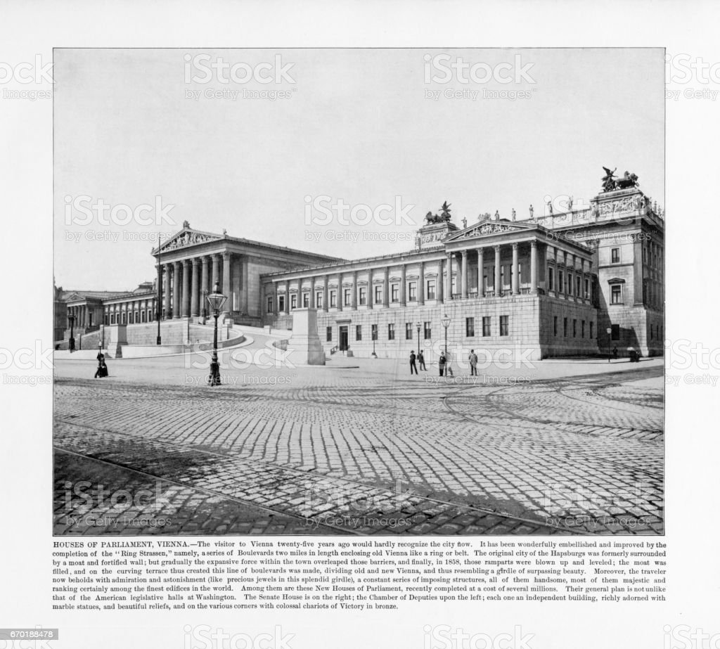 Antique Austria Photograph: Houses of Parliament, Vienna, Austria, 1893 stock photo