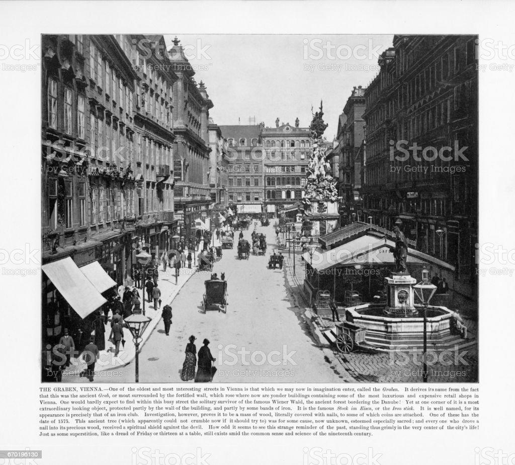 Antique Austria Photograph: The Graben, Vienna, Austria,1893 stock photo