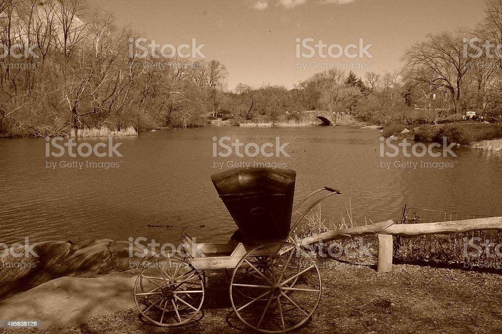 antique baby pram carriage stock photo
