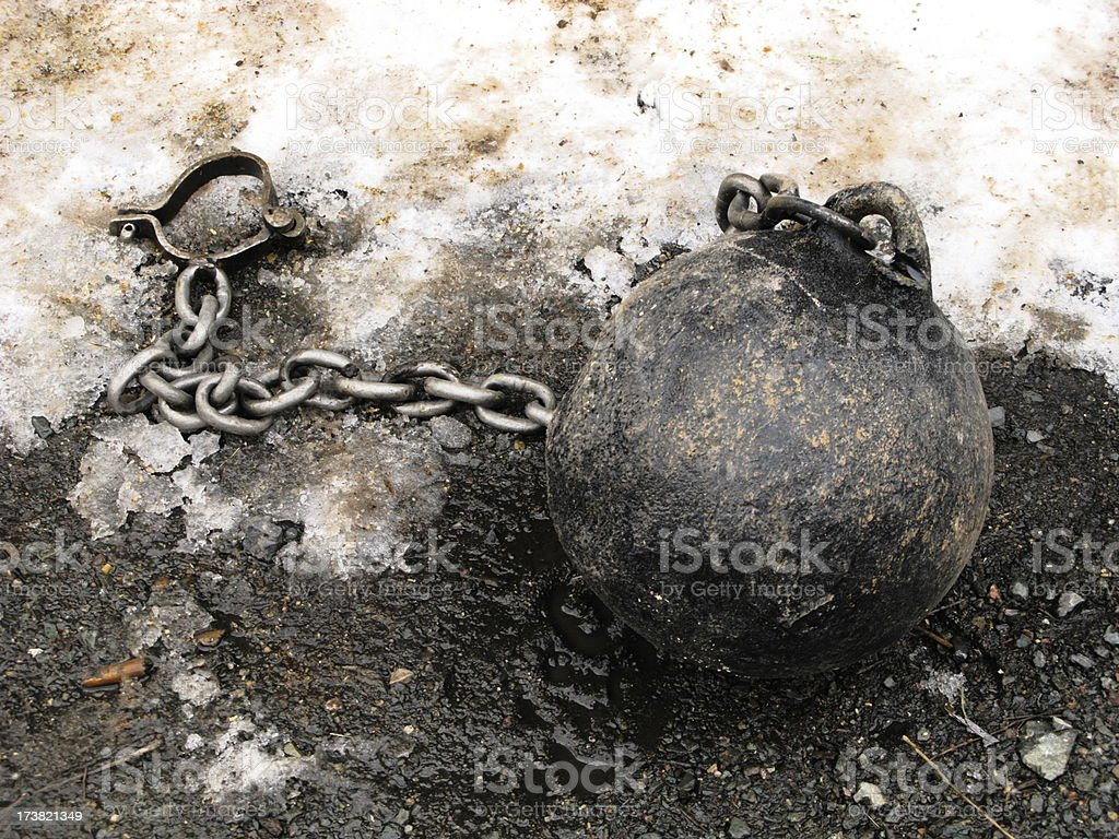 Antique Ball and Chain stock photo