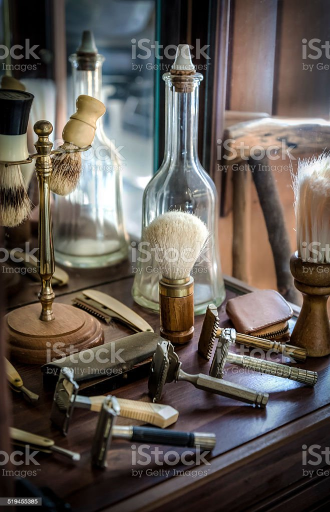 Antique barber tools stock photo