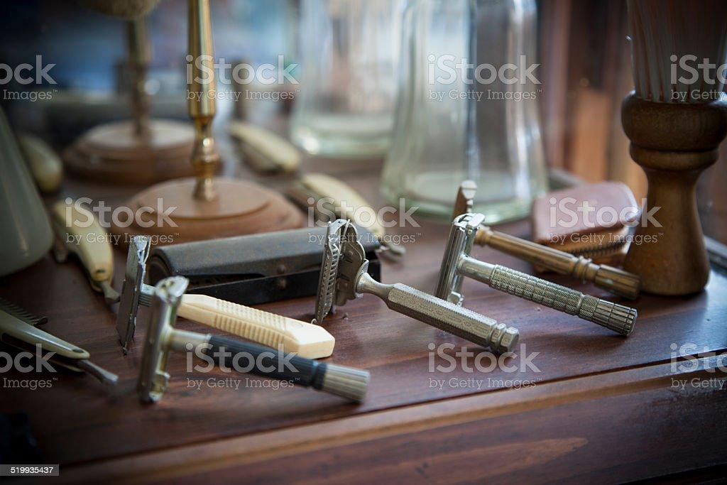 Antique barber tools stock photo