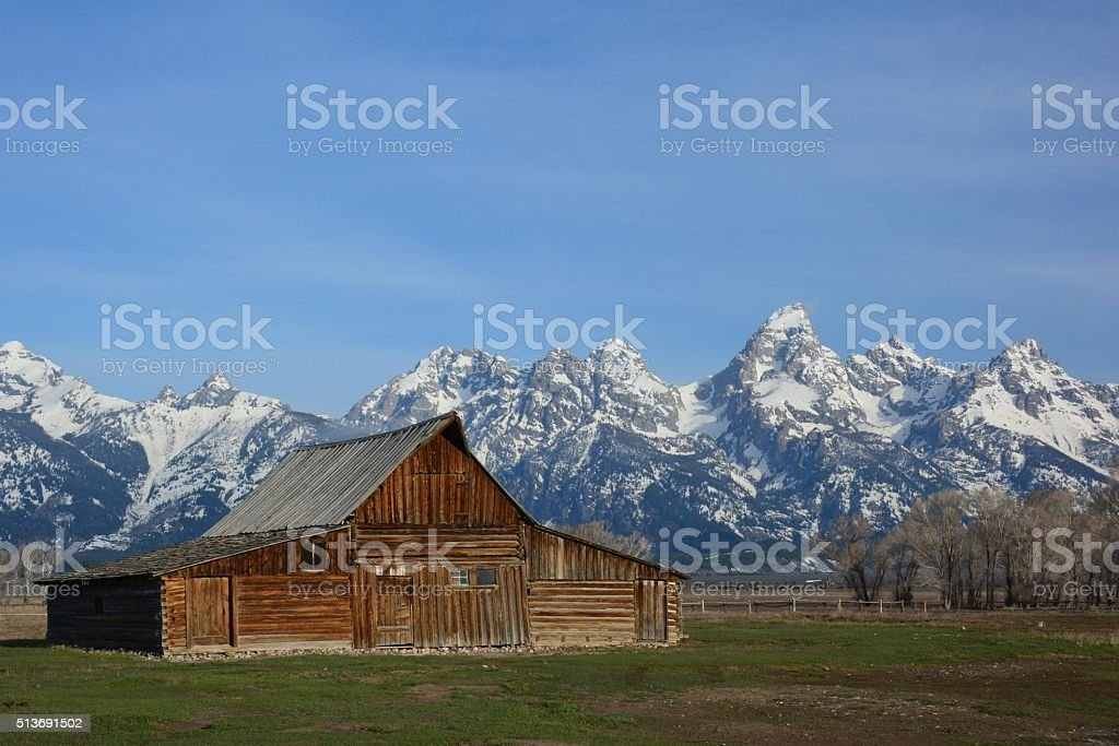 Antique Barn at the foot of the Tetons stock photo