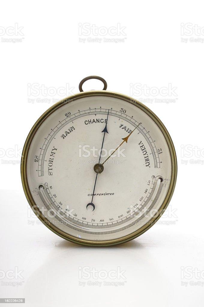 Antique barometer isolated on white royalty-free stock photo