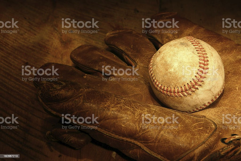Antique Baseball and Glove royalty-free stock photo
