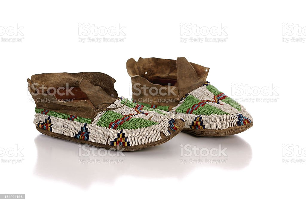 Antique Beaded Moccasins stock photo